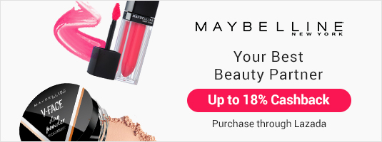 Get Super Cashback on Maybelline products purchased through Lazada