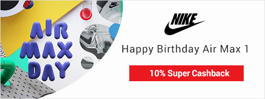 Buy any nike items or customise your Nike shoes +10% Super Cashback!