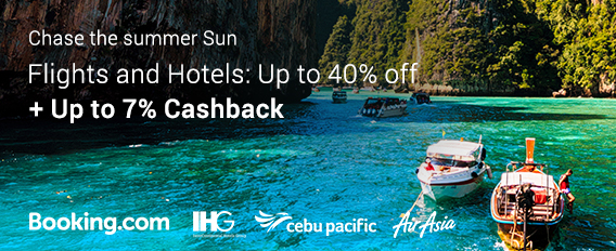 Chase the summer sun with up to 30% off on accommodations and flights + Up to 7% Cashback