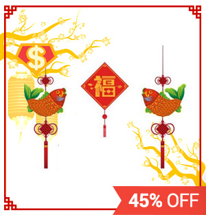 [$] CNY Blessing Words Wall Stickers